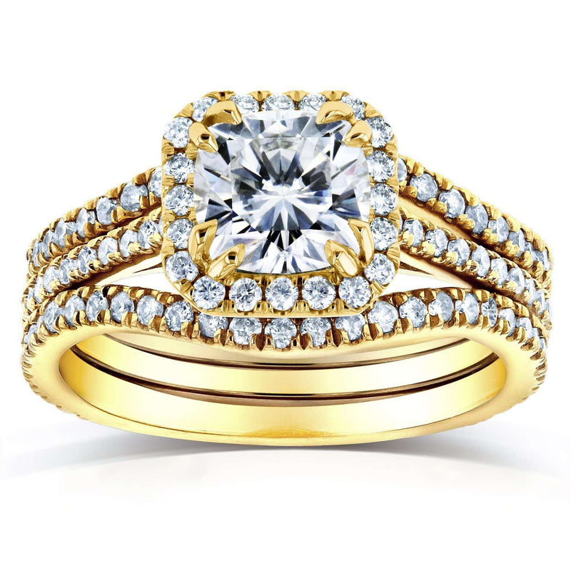 Near-Colorless (F-G) Cushion Moissanite and Diamond Halo Bridal Set 1 4/5 CTW in 14k Yellow Gold