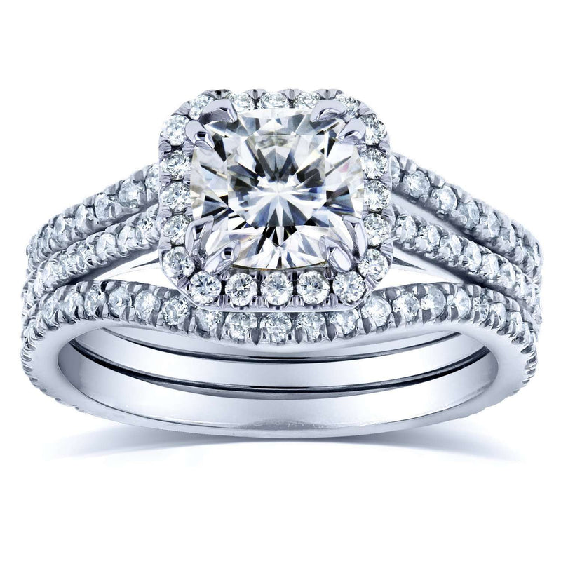 Near-Colorless (F-G) Cushion Moissanite and Diamond Halo Bridal Set 1 4/5 CTW in 14k White Gold