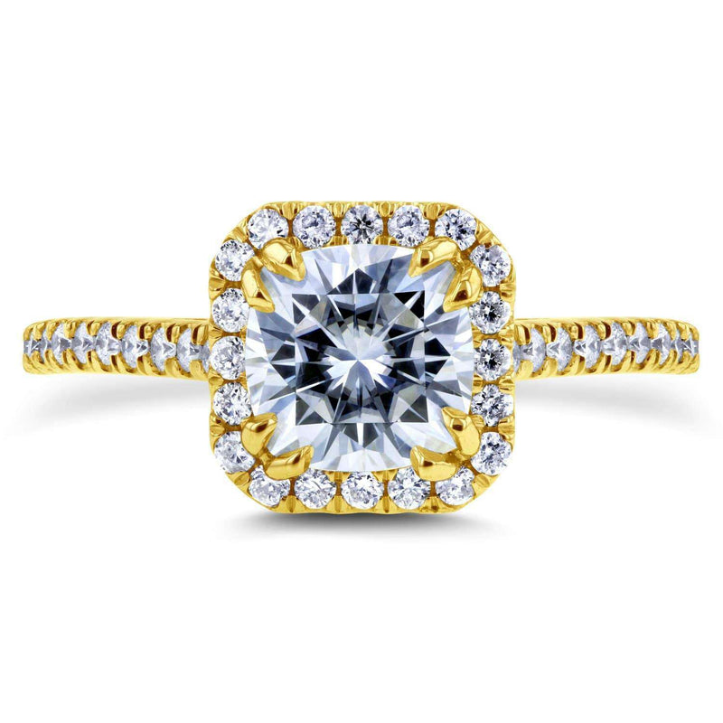 Kobelli Near-Colorless (F-G) Moissanite and Diamond Halo 1 2/5 CTW 14k Yellow Gold Ring