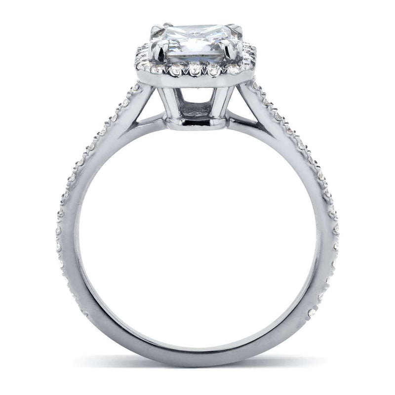 Kobelli Near-Colorless (F-G) Moissanite and Diamond Halo 1 2/5 CTW 14k White Gold Ring