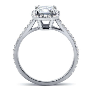 Kobelli Moissanite and Diamond Halo 1 2/5 CTW in 14k White Gold Ring
