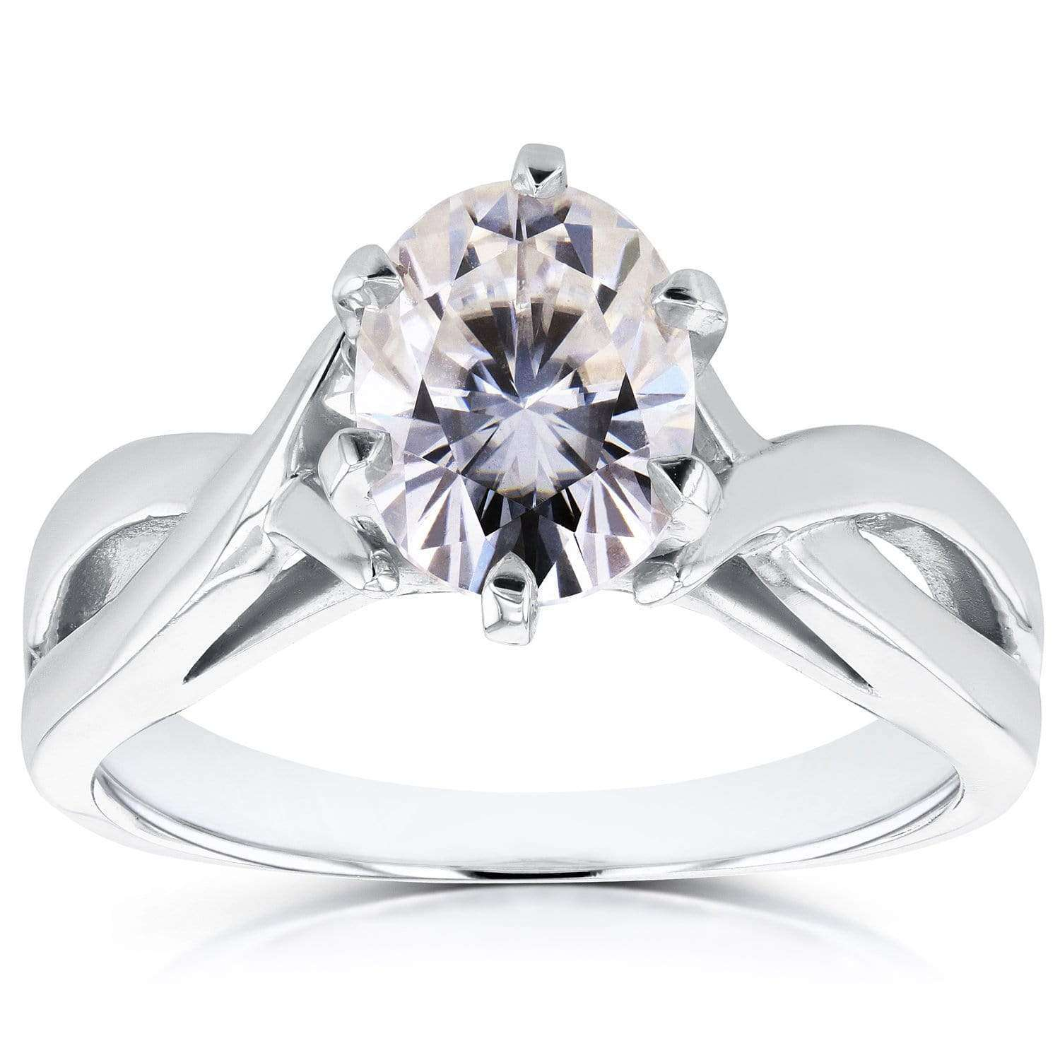 Promos Near-Colorless (F-G) Oval Moissanite Solitaire Crossover Ring 1 1/2 CTW in 14k White Gold - 8.5