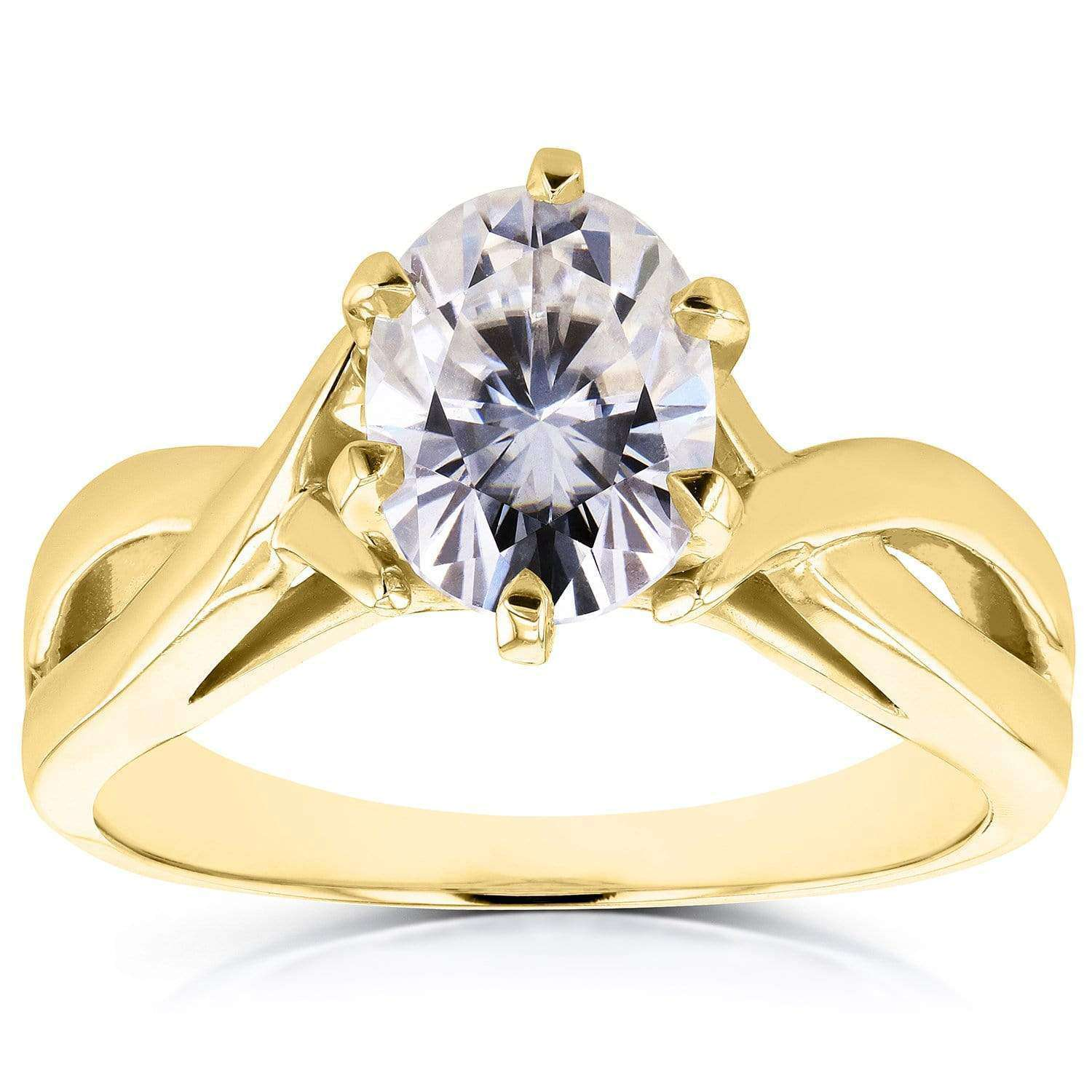 Cheap Near-Colorless (F-G) Oval Moissanite Solitaire Crossover Ring 1 1/2 CTW in 14k Yellow Gold - 4.5