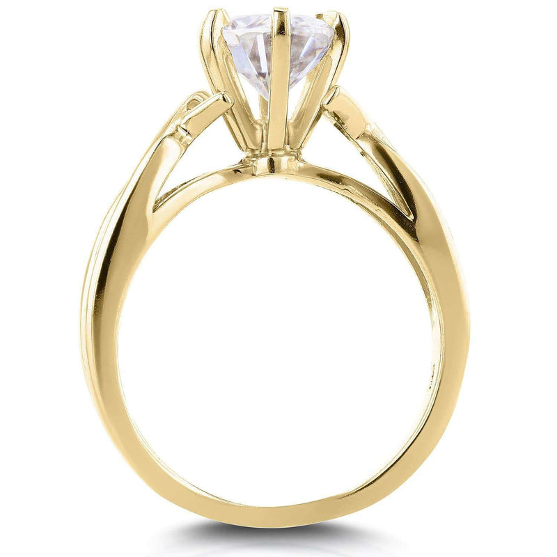 Kobelli Near-Colorless (F-G) Oval Moissanite Solitaire Crossover Ring 1 1/2 CTW in 14k Yellow Gold
