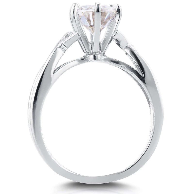 Kobelli Near-Colorless (F-G) Oval Moissanite Solitaire Crossover Ring 1 1/2 CTW in 14k White Gold