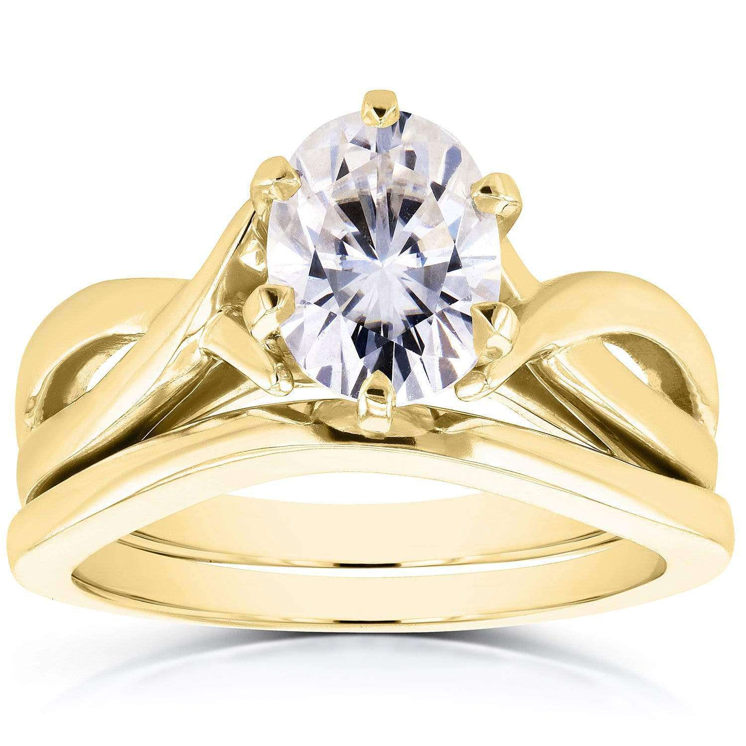 Cheap Near-Colorless (F-G) Oval Moissanite Solitaire Crossover Bridal Set 1 1/2 CTW in 14k Yellow Gold - 4.5