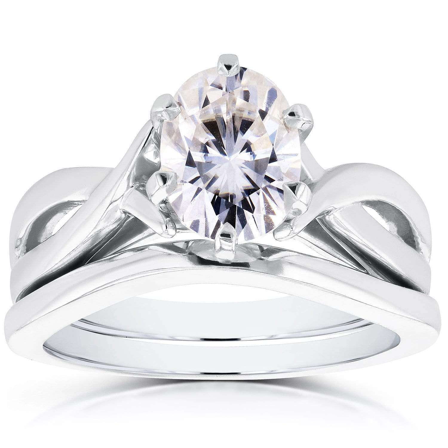 Discounts Near-Colorless (F-G) Oval Moissanite Solitaire Crossover Bridal Set 1 1/2 CTW in 14k White Gold - 9.5