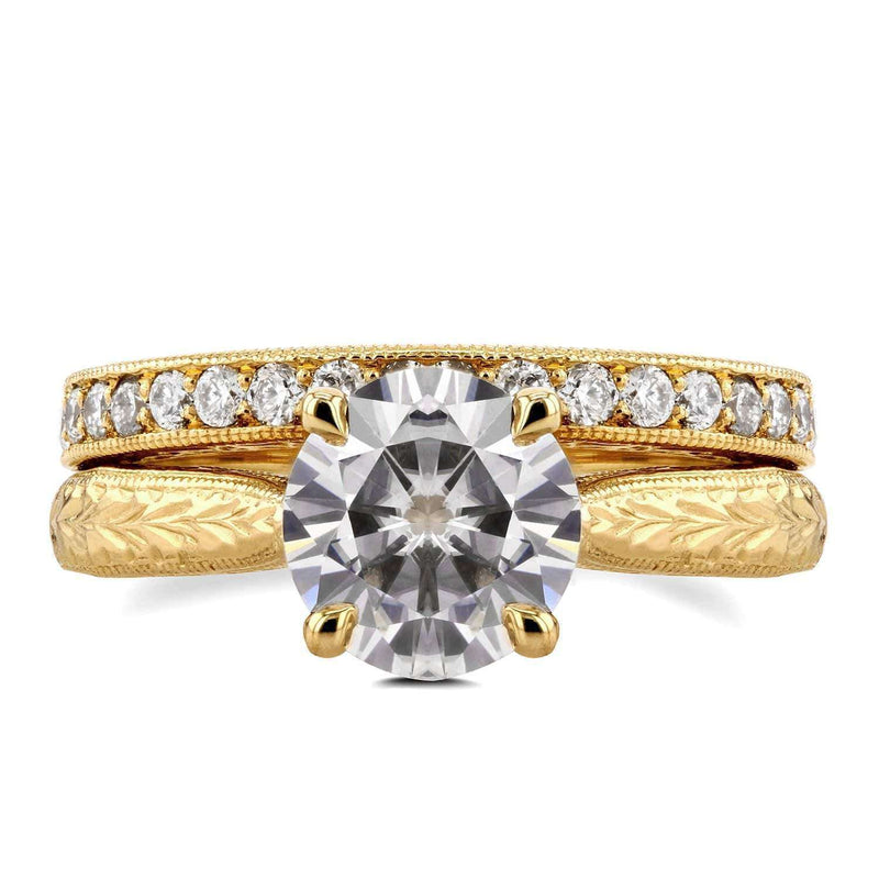 Kobelli Antique Near-Colorless (F-G) Moissanite and Diamond Cathedral Bridal Set 1 4/5 CTW 14k Yellow Gold
