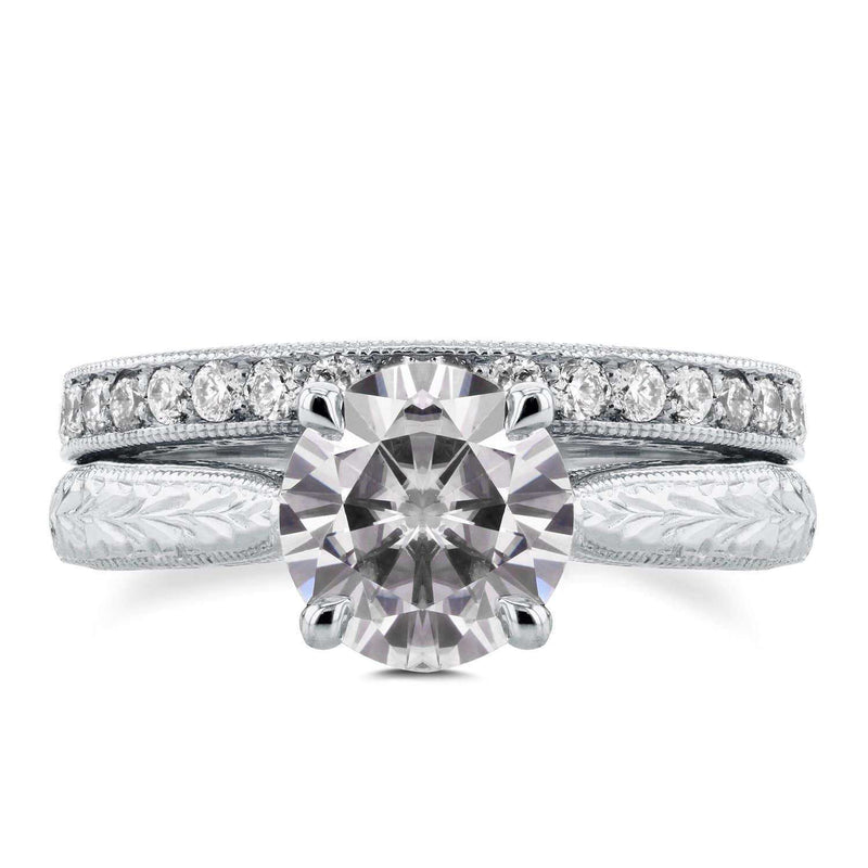 Kobelli Antique Near-Colorless (F-G) Moissanite and Diamond Cathedral Bridal Set 1 4/5 CTW 14k White Gold