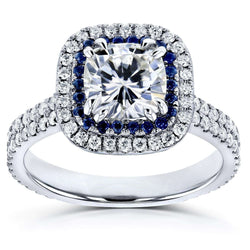 Kobelli 2 Carat TCW Near-Colorless Moissanite (FG) with Diamond (GH) and Sapphire Cushion Halo Engagement Ring in 14k White Gold