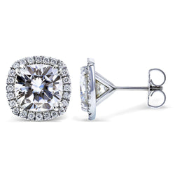 Kobelli Near-Colorless (F-G) Moissanite and Diamond Halo Formal Stud Earrings 6 CTW MZFB62183CU