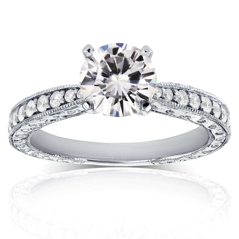 Kobelli Antique Near-Colorless (F-G) Moissanite Engagement Ring with Diamond 1 1/4 CTW 14k White Gold