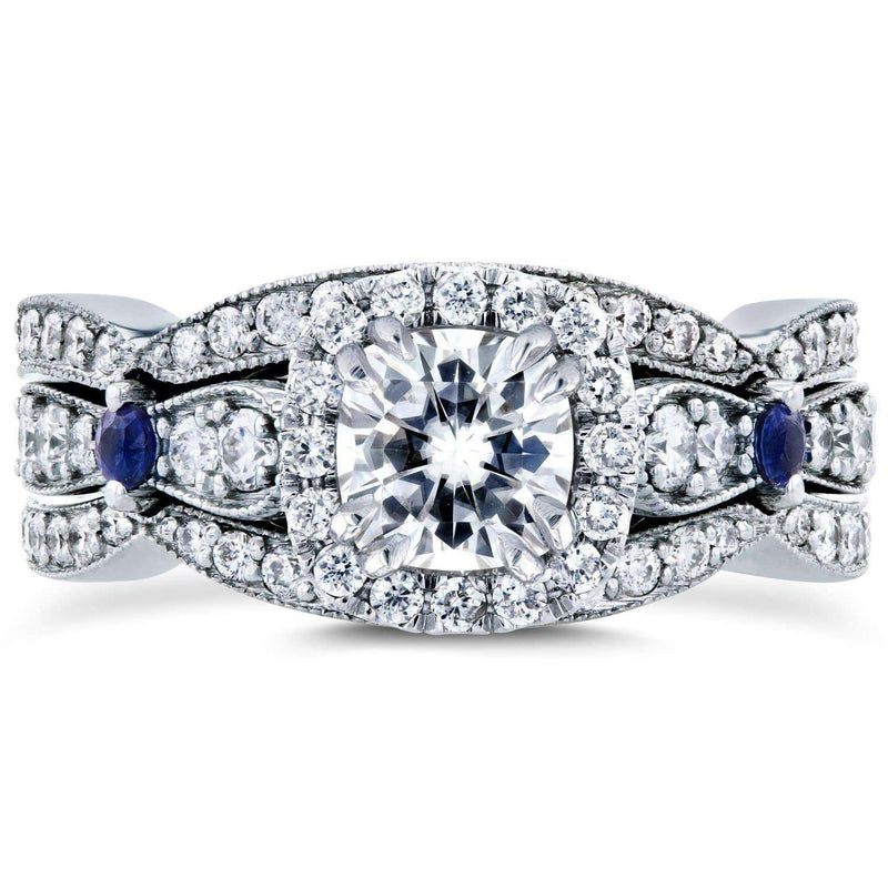 Kobelli Vintage Near-Colorless (F-G) Moissanite Diamond and Sapphire 3-Piece Bridal Set 2 CTW in 14k White Gold