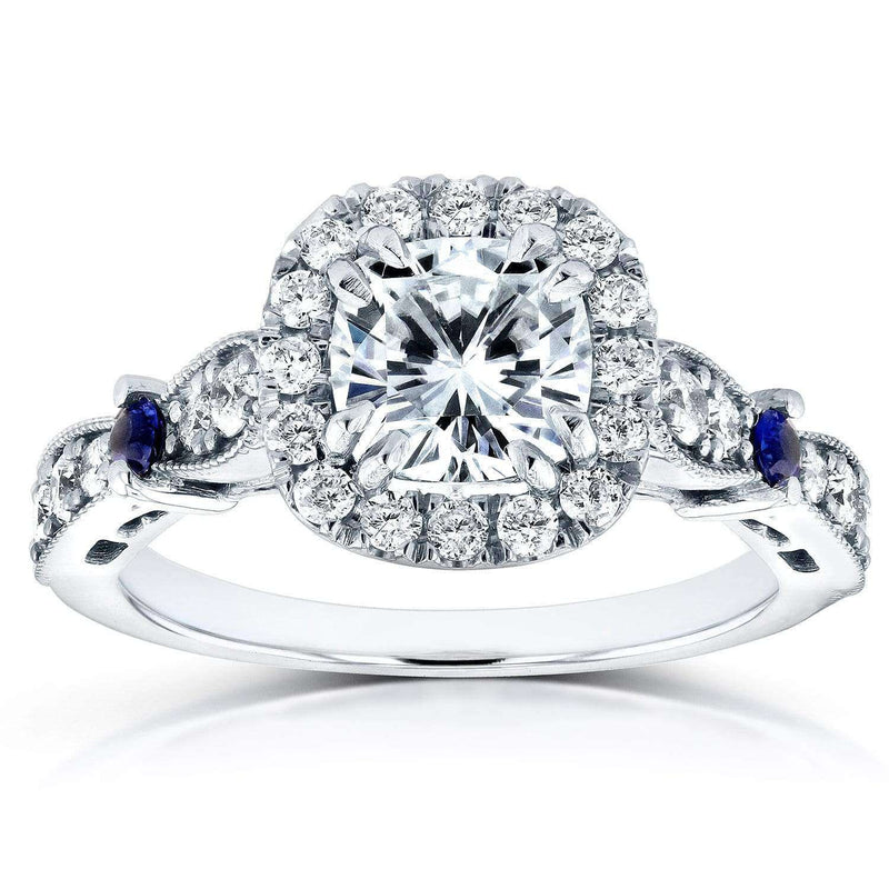 Kobelli Near-Colorless (F-G) Moissanite Diamond and Sapphire Engagement Ring 1 5/8 CTW 14k White Gold