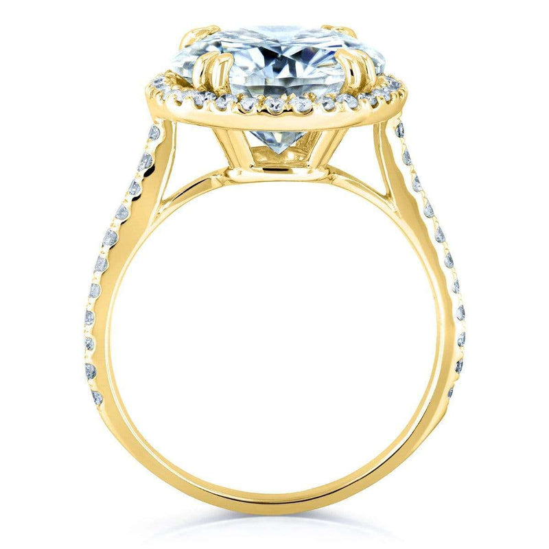 Kobelli Near-Colorless (F-G) Moissanite and Diamond Halo Engagement Ring 5 1/5 CTW 14k Yellow Gold