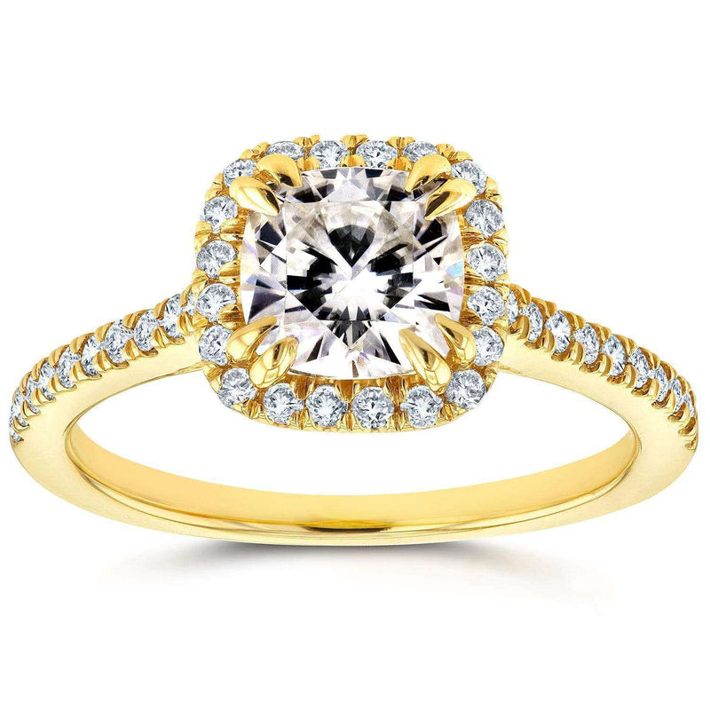 Kobelli Forever One DEF Moissanite & Diamond Halo Cathedral Engagement Ring 1 2/5 CTW 14K Yellow Gold