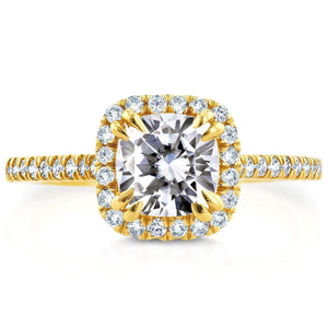 Forever One DEF Moissanite & Diamond Halo Cathedral Engagement Ring 1 2/5 CTW 14K Yellow Gold
