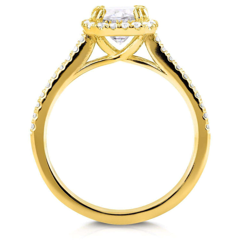 Kobelli Near-Colorless (F-G) Moissanite and Diamond Halo Cathedral Engagement Ring 1 2/5 CTW in 14K Yellow Gold