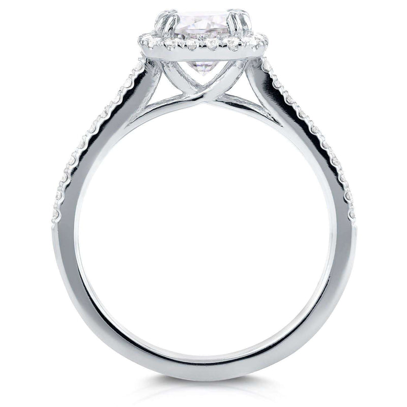 Kobelli Near-Colorless (F-G) Moissanite and Diamond Halo Cathedral Engagement Ring 1 2/5 CTW in 14K White Gold