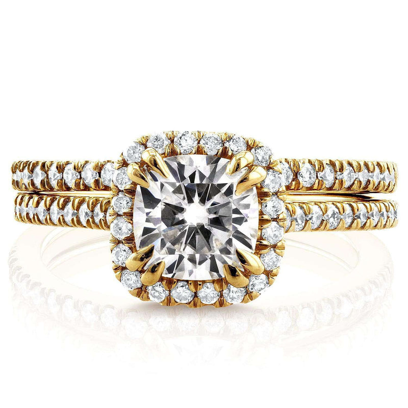 Kobelli Near-Colorless (F-G) Moissanite and Diamond Halo Cathedral Bridal Set 1 1/2 CTW in 14K Yellow Gold