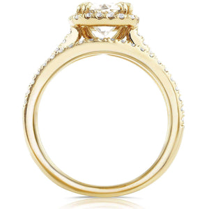 Forever One D-F Moissanite and Diamond Halo Cathedral Bridal Set 1 1/2 CTW in 14K Yellow Gold