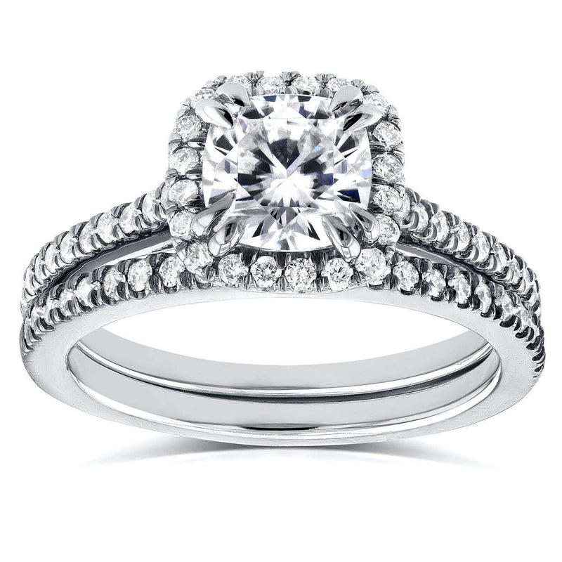 Kobelli Near-Colorless (F-G) Moissanite and Diamond Halo Cathedral Bridal Set 1 1/2 CTW in 14K White Gold
