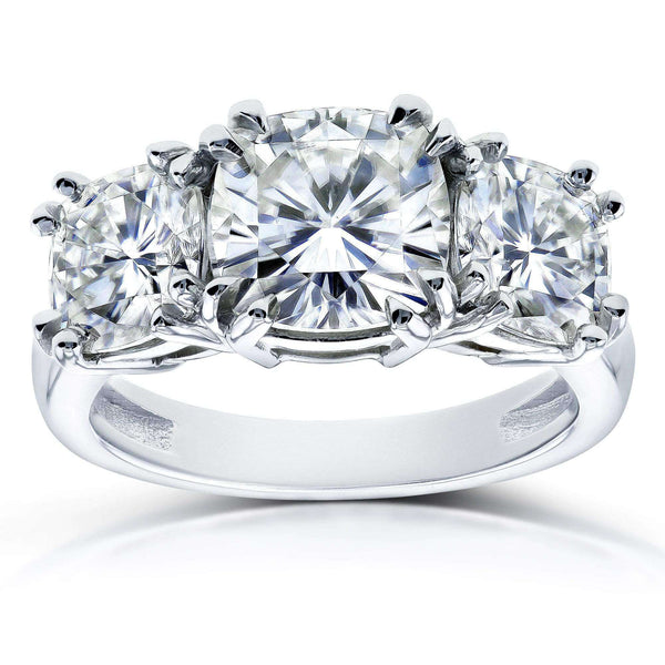 Kobelli Cushion Near-Colorless (F-G) Moissanite 3 Stone Engagement Ring 4 1/5 CTW in 14k White Gold