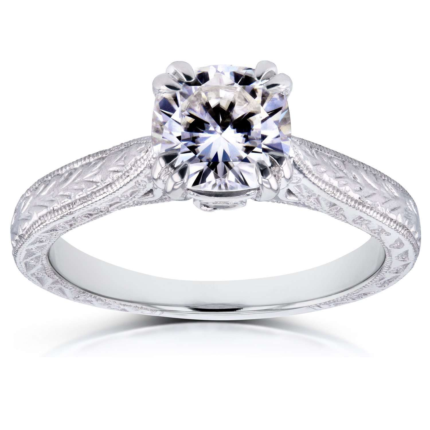 Reviews Near-Colorless (F-G) Cushion Moissanite and Diamond Accent Antique Engraved Engagement Ring 1 1/6 CTW 14k White Gold - 6.5