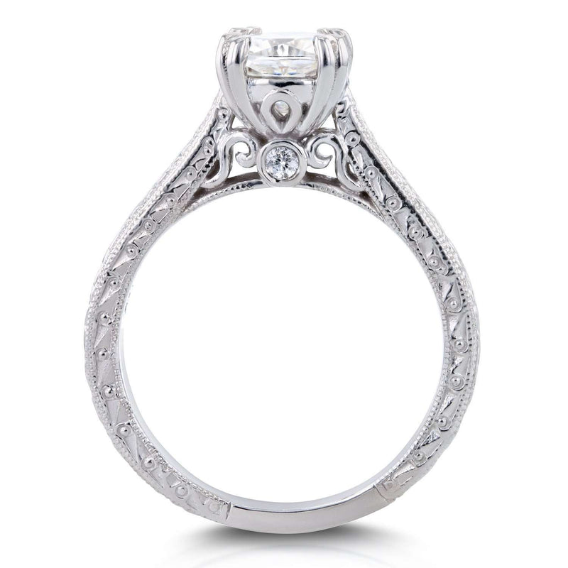 Near-Colorless (F-G) Cushion Moissanite and Diamond Accent Antique Engraved Engagement Ring 1 1/6 CTW 14k White Gold