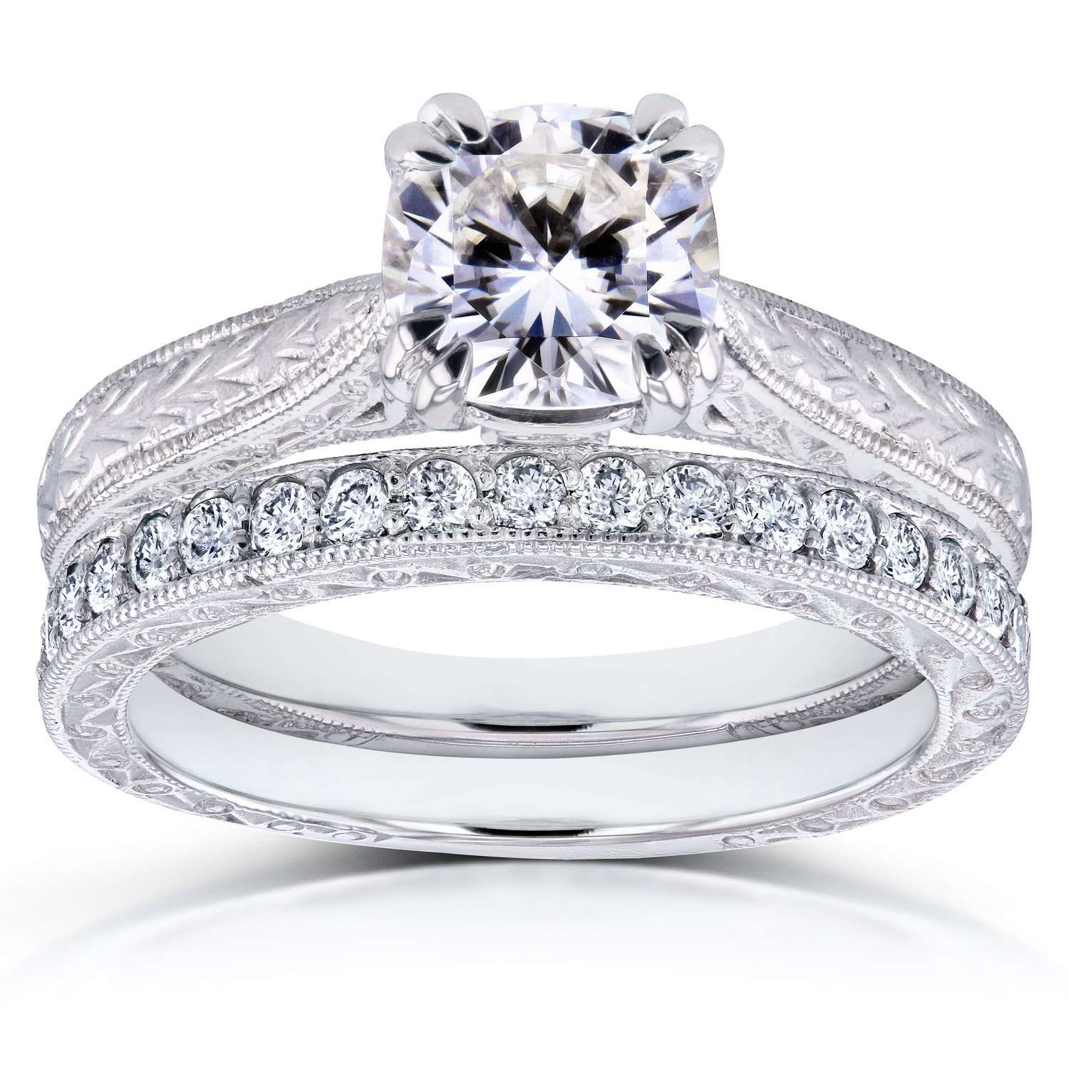 Top Near-Colorless (F-G) Cushion Moissanite and Diamond Antique Engraved Bridal Rings Set 1 1/3 CTW 14k White Gold - 9