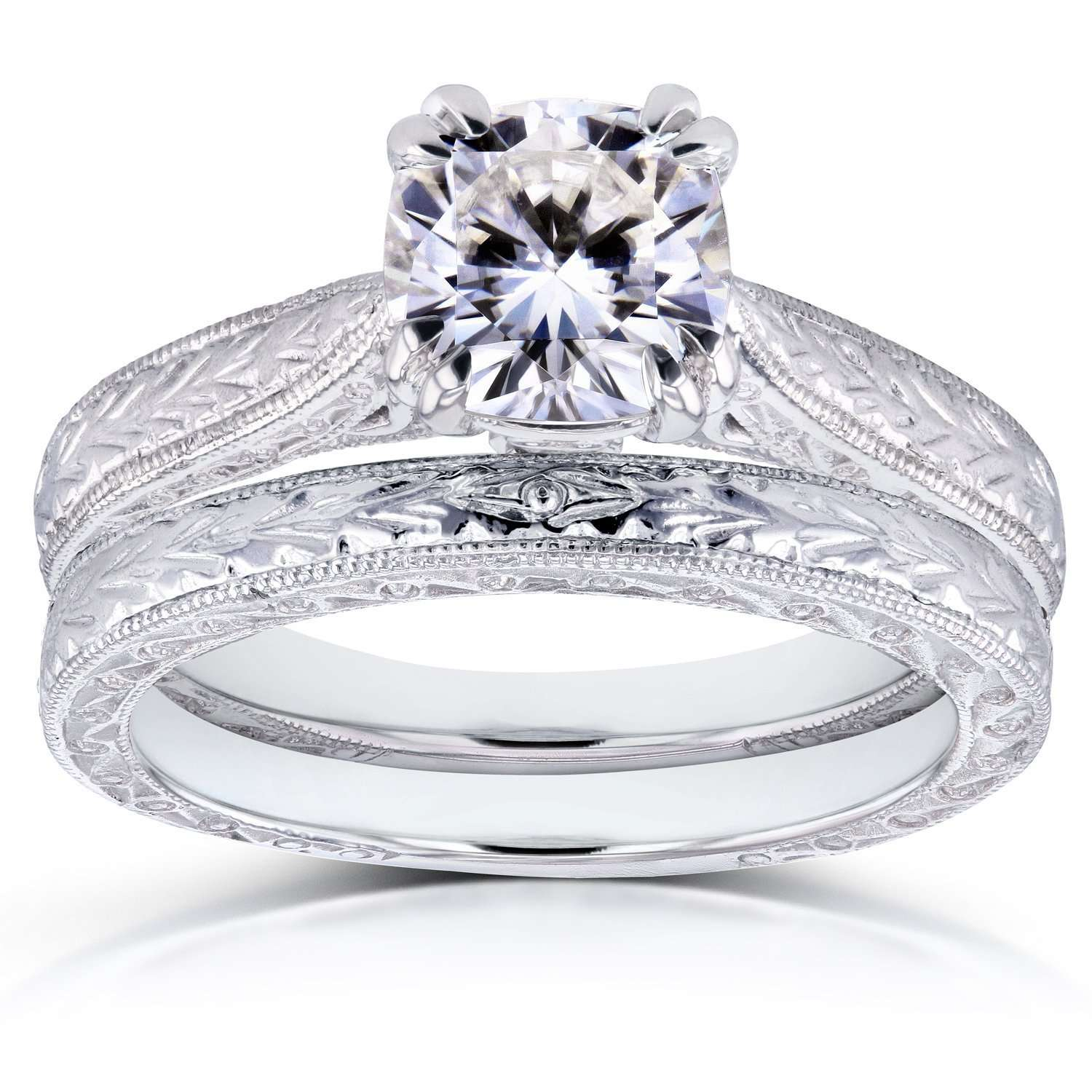 Best Near-Colorless (F-G) Cushion Moissanite and Diamond Accent Antique Engraved Bridal Rings Set 1 1/6 CTW 14k White Gold - 10