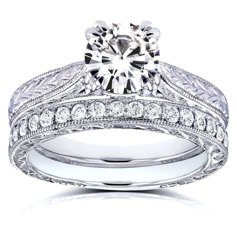 Near-Colorless (F-G) Moissanite and Diamond Antique Engraved Bridal Rings Set 1 1/3 CTW 14k White Gold