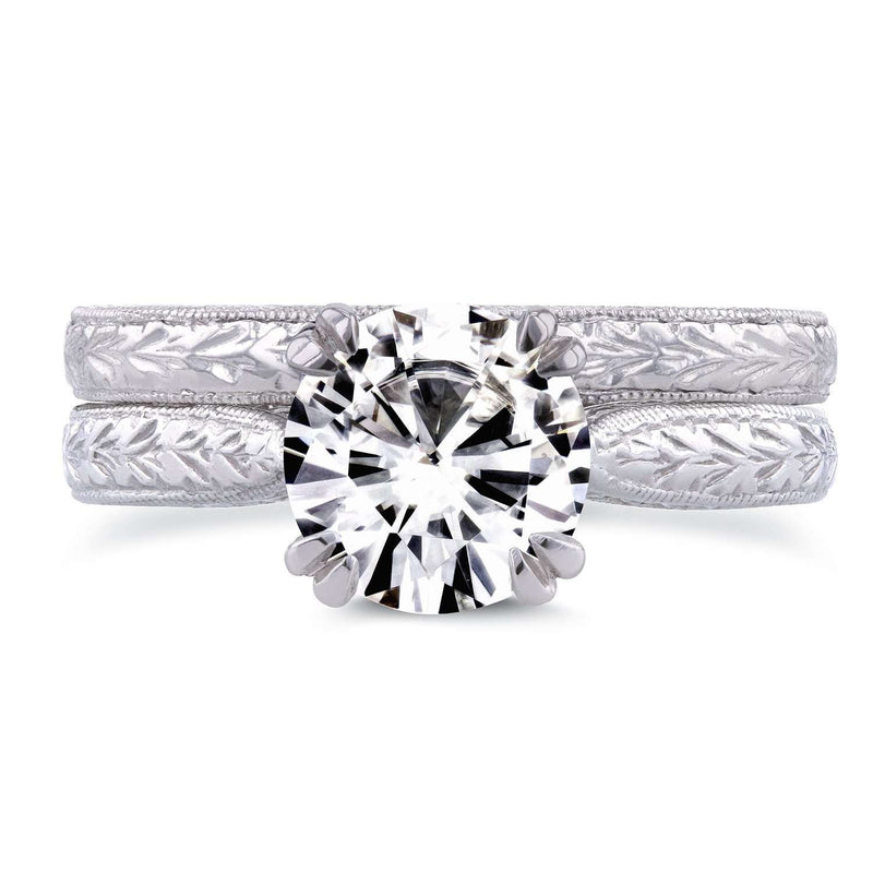 Near-Colorless (F-G) Moissanite and Diamond Accent Antique Engraved Bridal Rings Set 1 CTW 14k White Gold