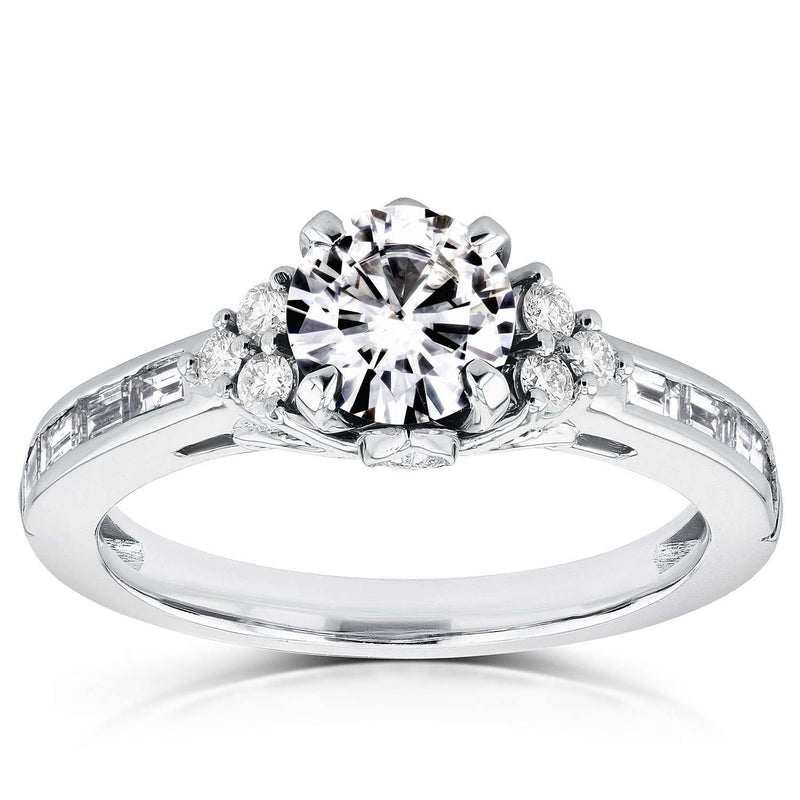 Near-Colorless (F-G) Round Moissanite and Diamond Engagement Ring 1 3/5 CTW in 14k White Gold