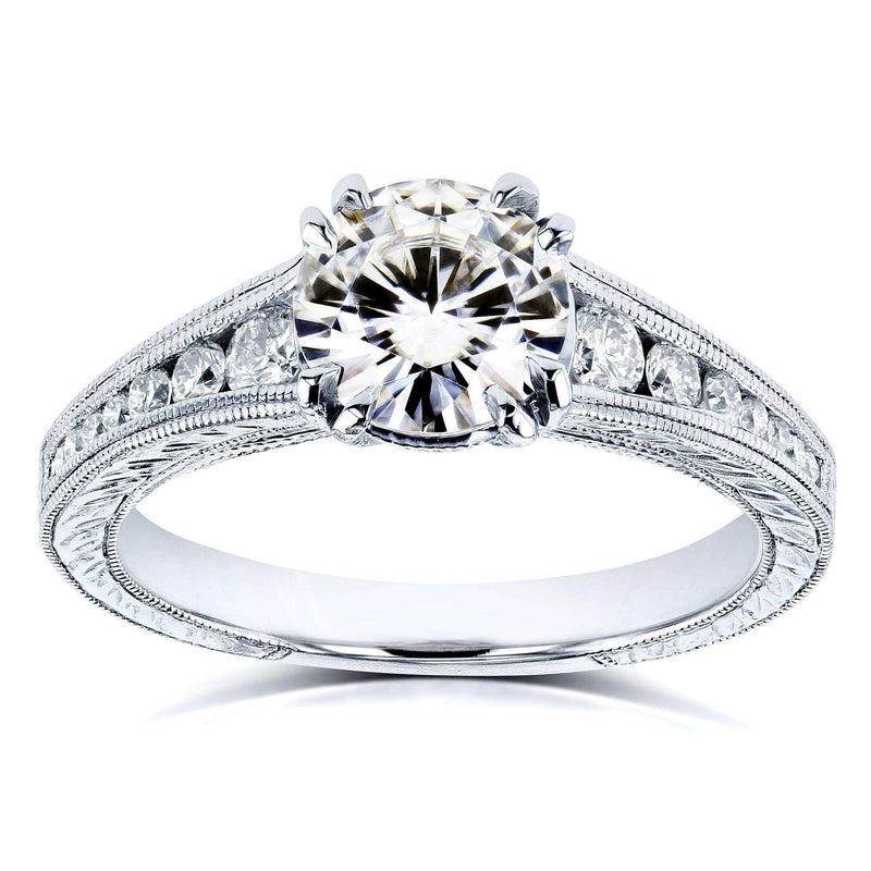 Kobelli Forever One (G-H-I) Near Colorless Moissanite and Diamond Channel Milgrain Band Engagement Ring 1-1/4 CTW in 14K White Gold
