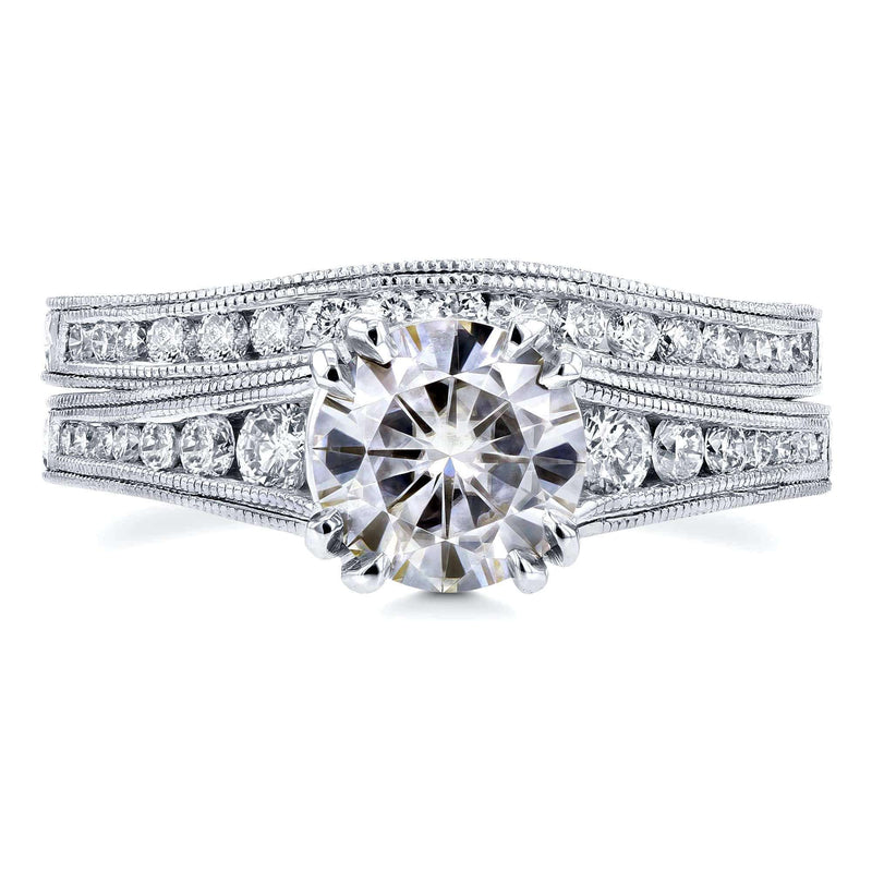 Kobelli F-G Moissanite Channel Diamond Bridal Set 14k White Gold (1 1/2 CTW)