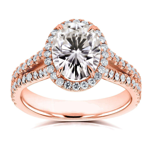 Kobelli Oval Moissanite F-G Halo Split Shank Ring 14k Rose Gold