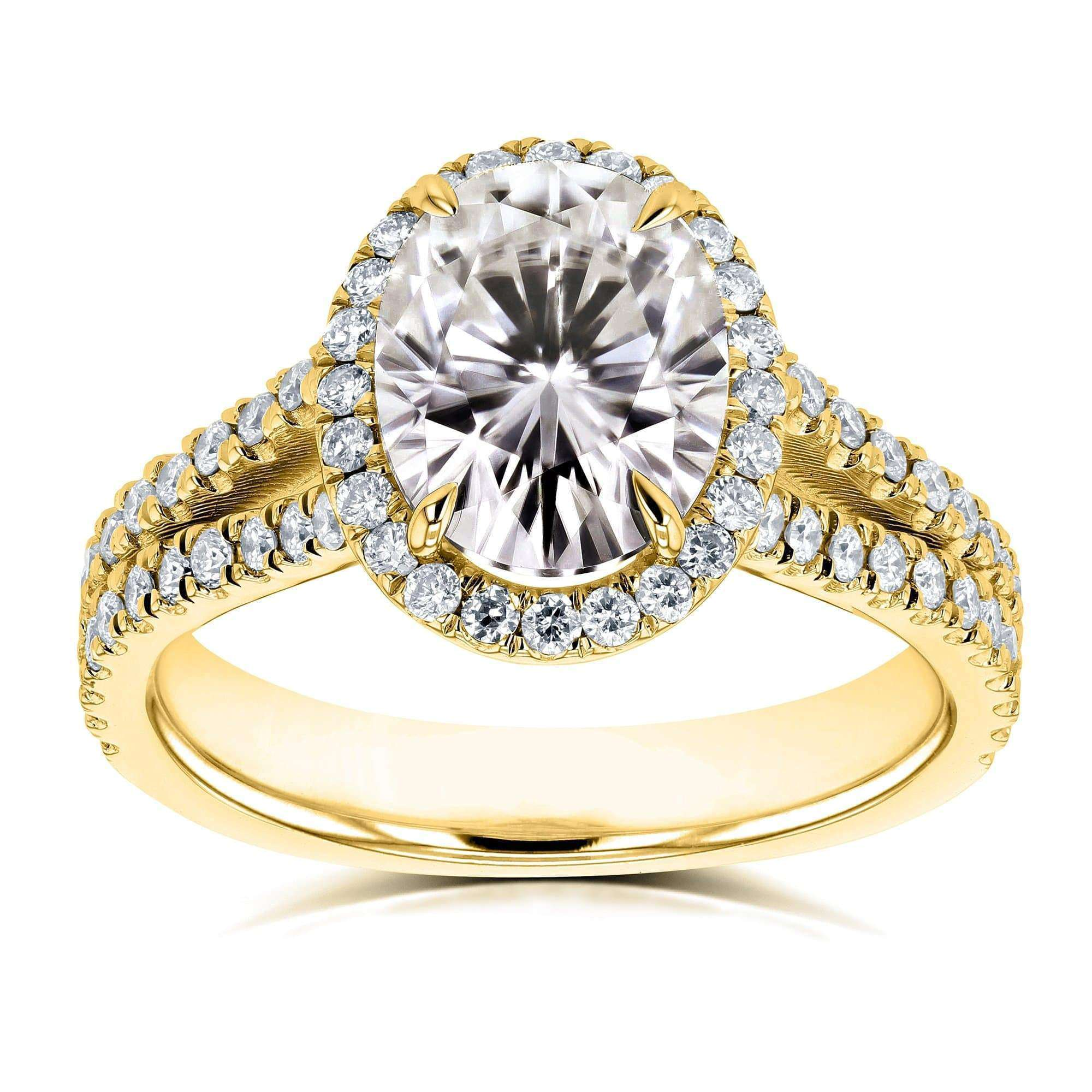 Best Oval Moissanite F-G Halo Split Shank Ring 14k Yellow Gold - 7