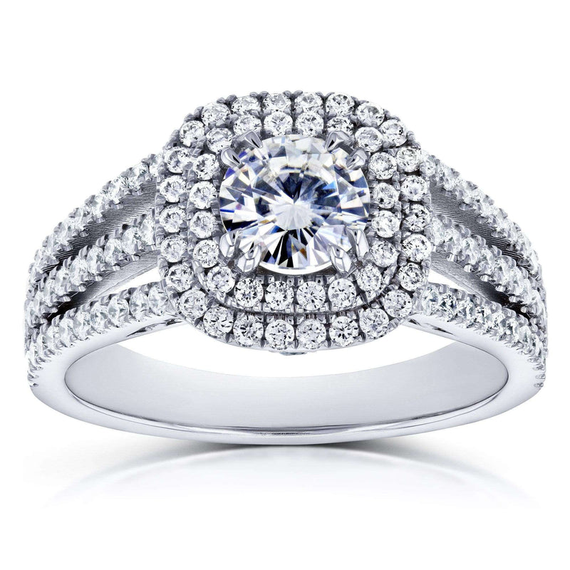 Kobelli Near-Colorless (F-G) Moissanite and Multi-Row Diamond Split Band Engagement Ring 2 Carats TGW 14k White Gold
