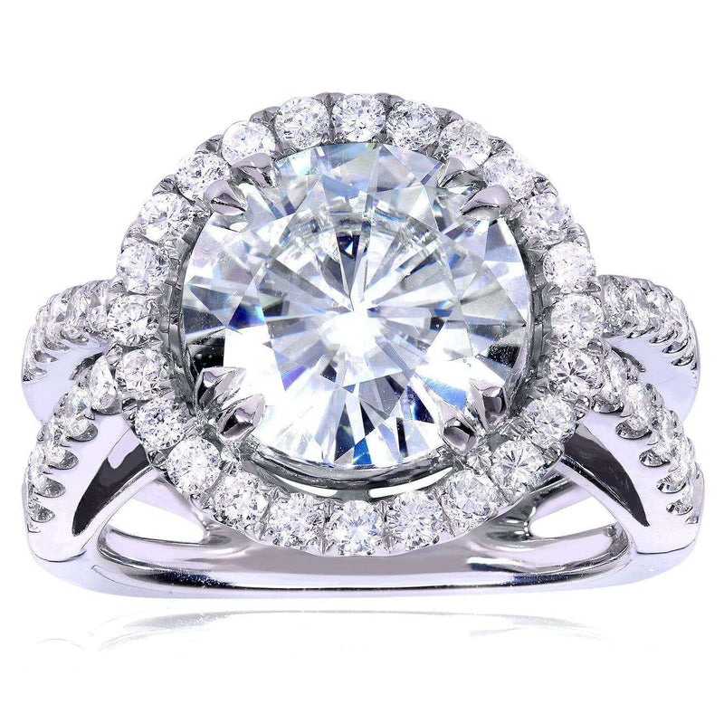 Kobelli Near-Colorless (F-G) Moissanite Engagement Ring with Diamond 6 CTW 14k White Gold