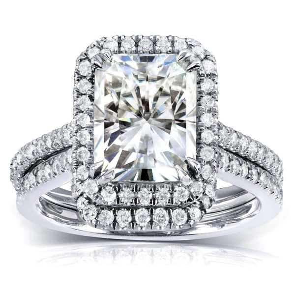 Kobelli Radiant-cut Moissanite Bridal Set with Diamond 3 1/6 CTW 14k White Gold