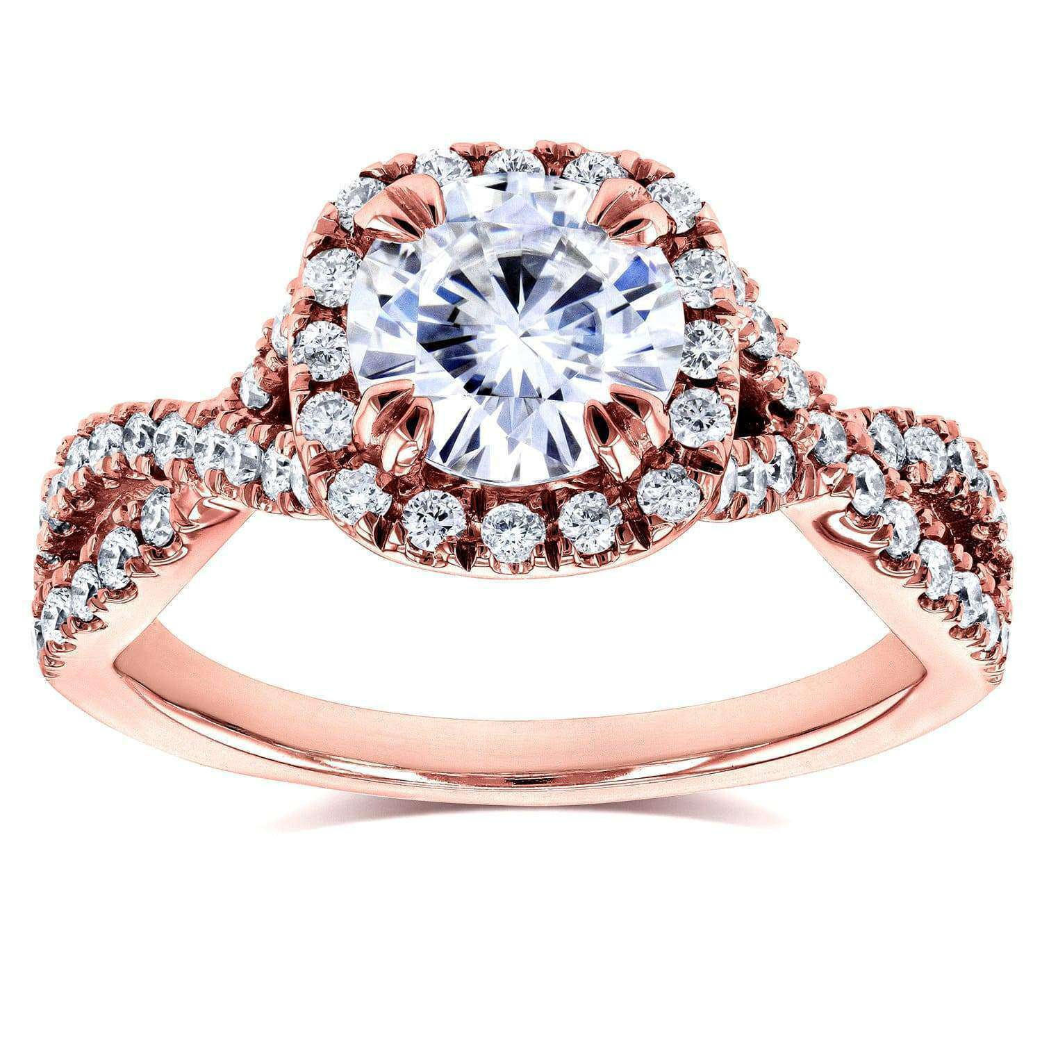 Discounts Forever One (D-F) Moissanite Engagement Ring and Diamond 1 1/2 CTW 14k Rose Gold - 7.5