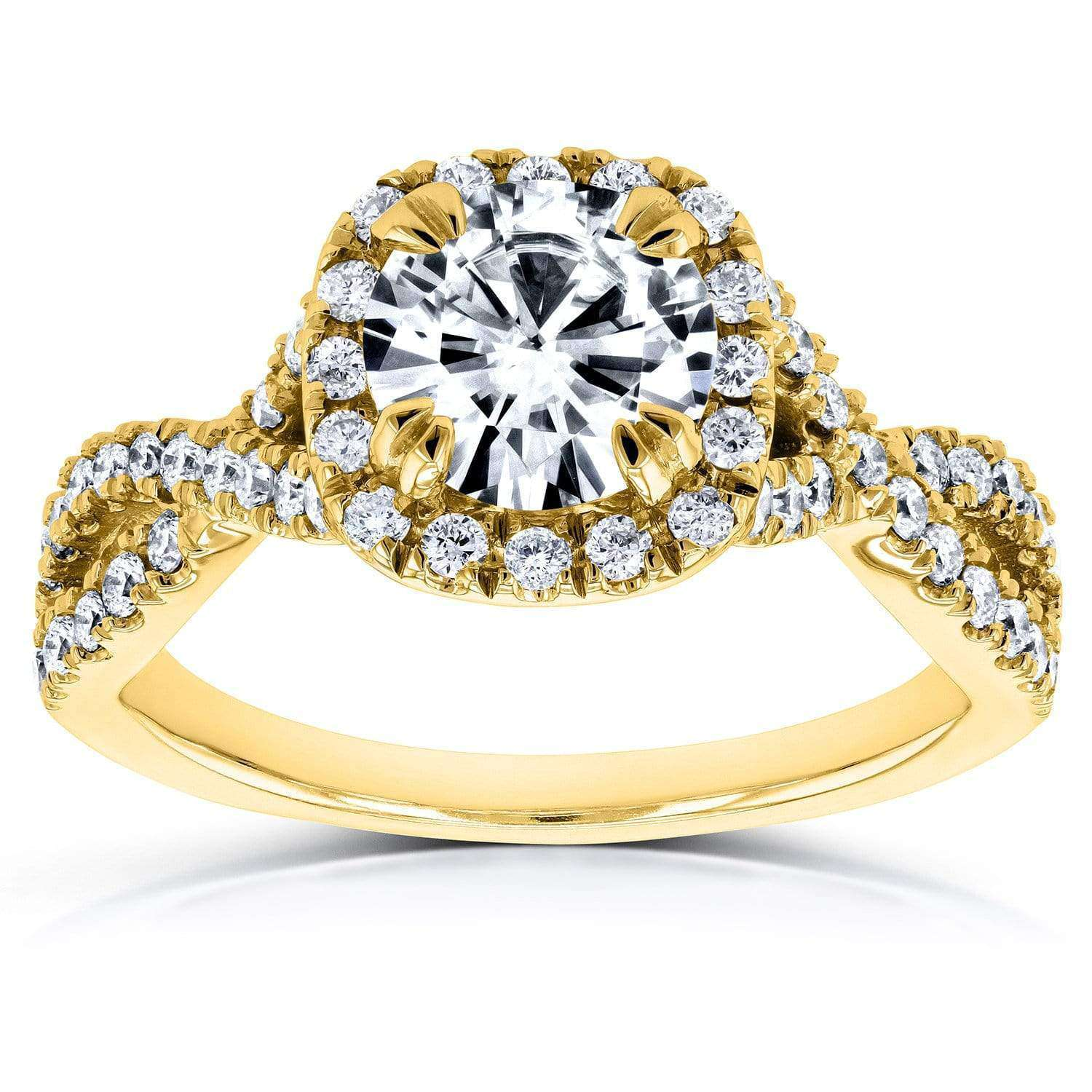 Top Forever One (D-F) Moissanite Engagement Ring and Diamond 1 1/2 CTW 14k Yellow Gold - 6.5