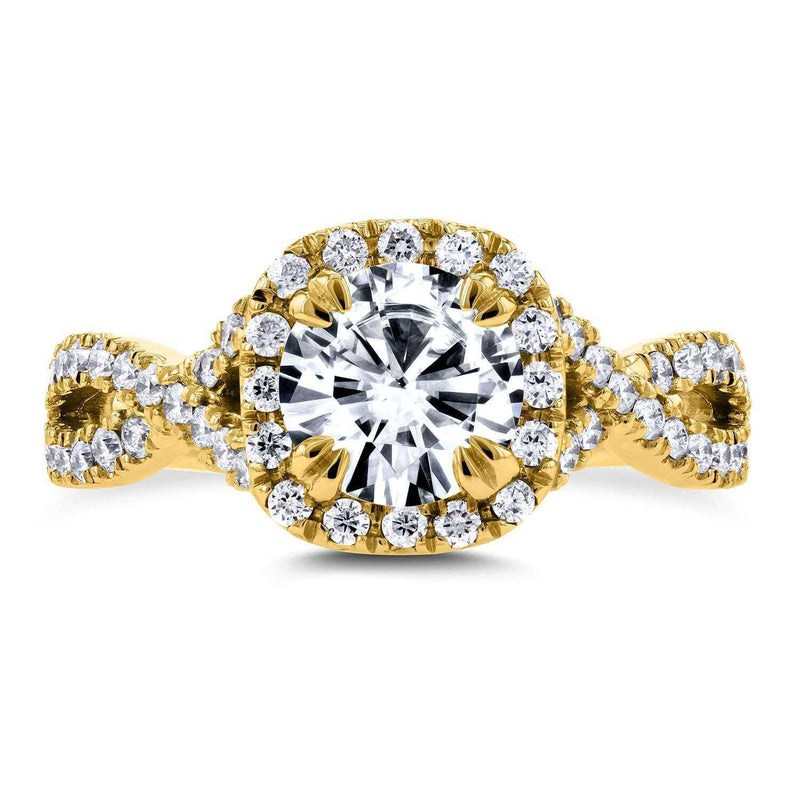 Kobelli Forever One (D-F) Moissanite Engagement Ring and Diamond 1 1/2 CTW 14k Yellow Gold