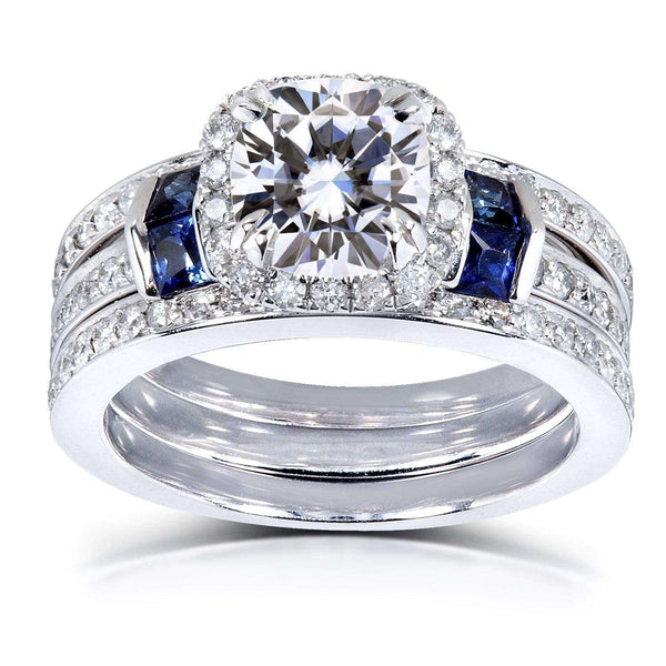 Kobelli Cushion-cut Moissanite Bridal Set with Diamond & Sapphire 2 CTW 14k White Gold (3 Piece Set)