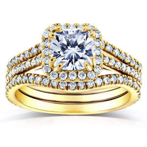 Forever One D-F Cushion Moissanite and Diamond Halo Bridal Set 1 4/5 CTW in 14k Yellow Gold