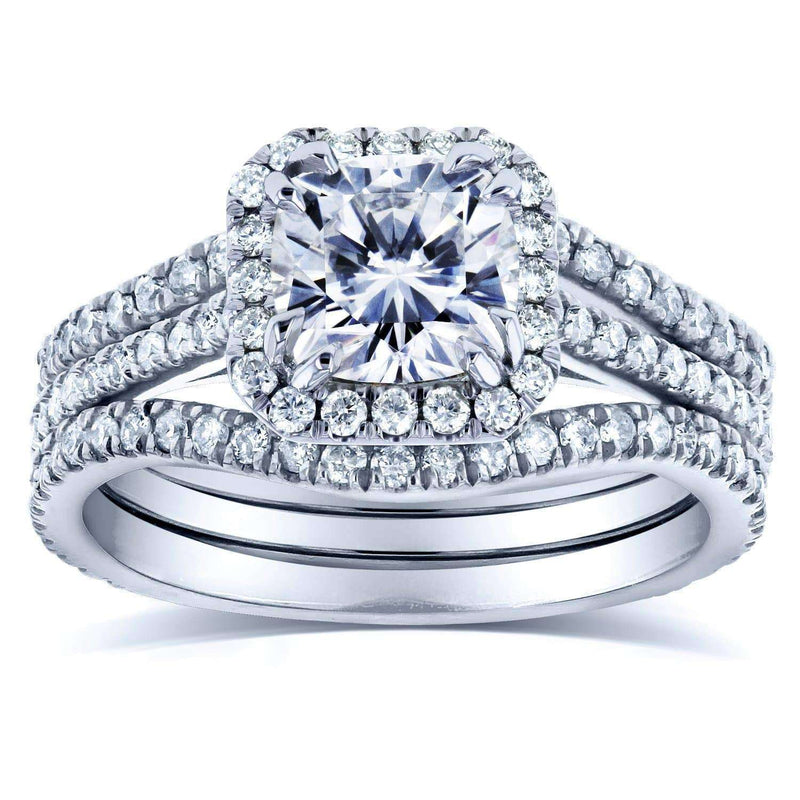 Kobelli Forever One D-F Cushion Moissanite and Diamond Halo Bridal Set 1 4/5 CTW in 14k White Gold
