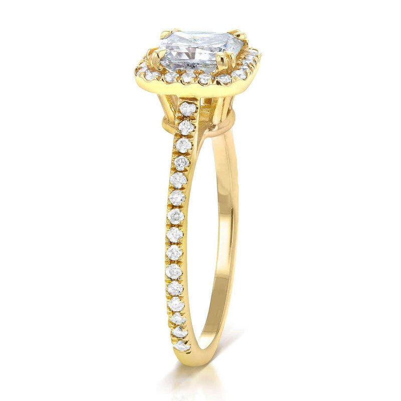 Kobelli Moissanite and Diamond Halo 1 2/5 CTW 14k Yellow Gold Ring