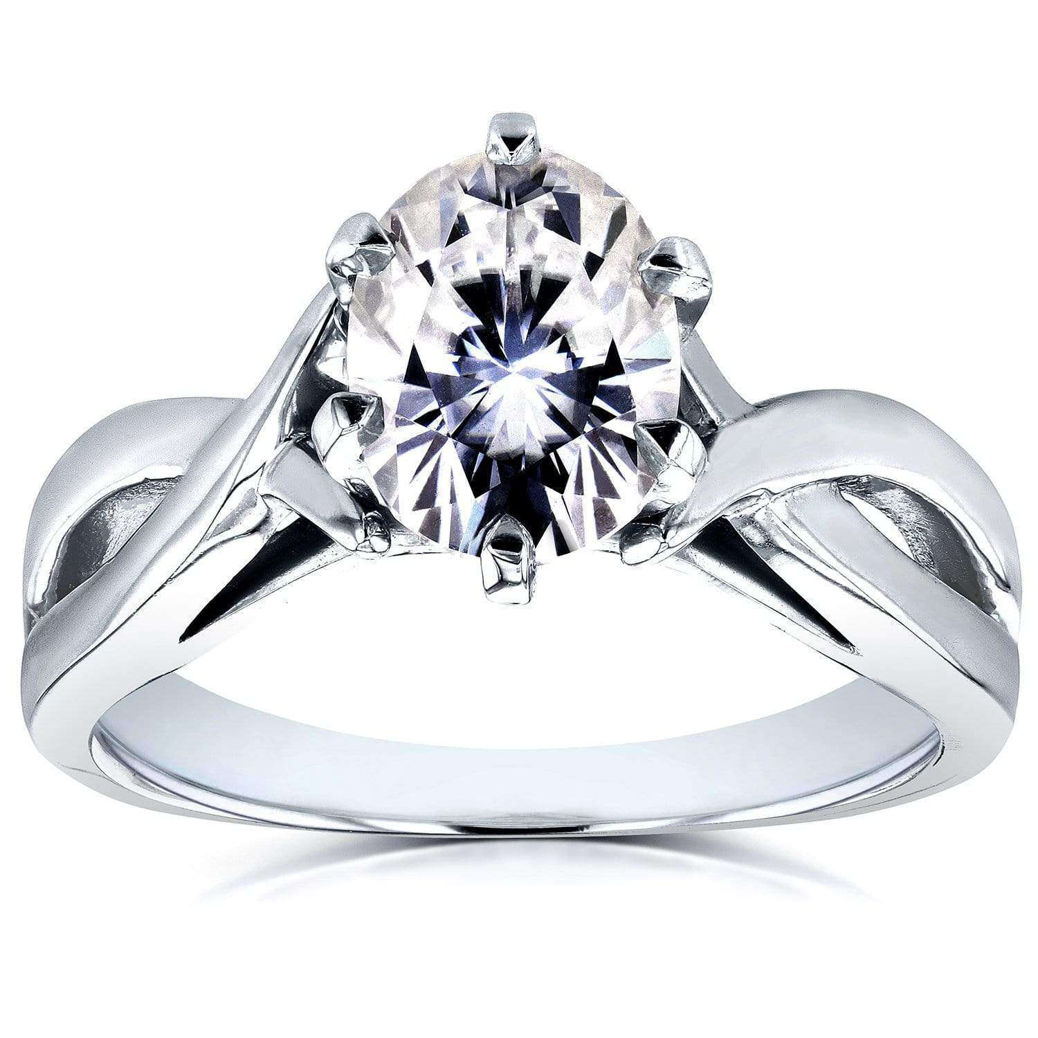 Best Forever One Oval Moissanite Solitaire Crossover Ring 1 1/2 CTW 14k White Gold - 8.5