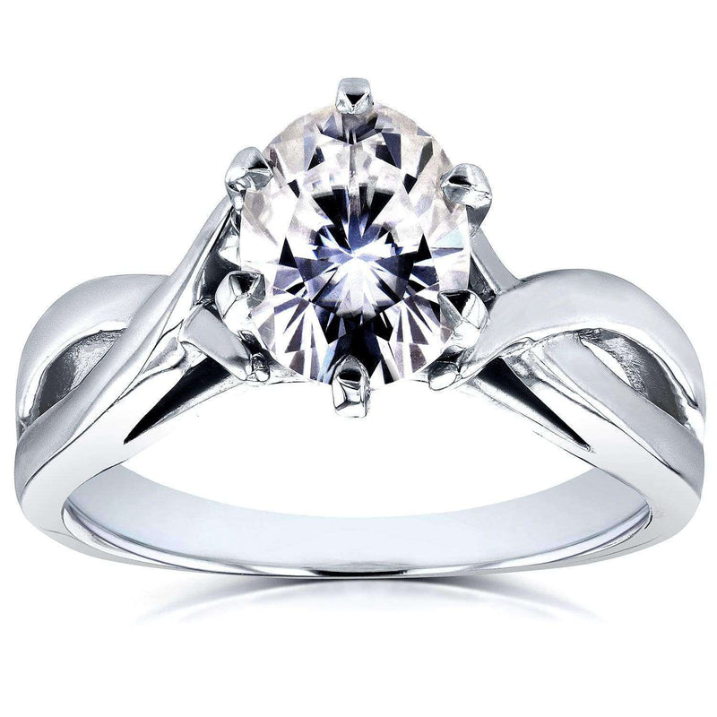Kobelli Forever One Oval Moissanite Solitaire Crossover Ring 1 1/2 CTW 14k White Gold